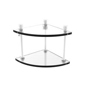 Foxtrot Matte White Eight-Inch Two-Tier Corner Glass Shelf