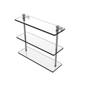 Foxtrot Matte Gray 16-Inch Triple Tiered Glass Shelf