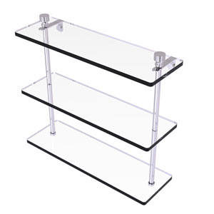 Foxtrot Polished Chrome 16-Inch Triple Tiered Glass Shelf