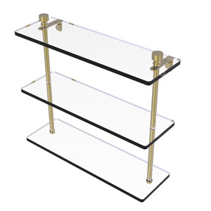 Foxtrot Satin Brass 16-Inch Triple Tiered Glass Shelf