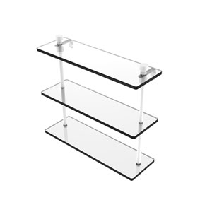 Foxtrot Matte White 16-Inch Triple Tiered Glass Shelf