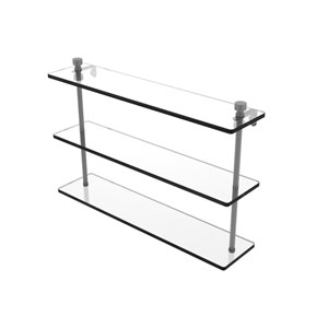 Foxtrot Matte Gray 22-Inch Triple Tiered Glass Shelf