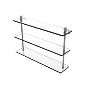 Foxtrot Matte Gray 22-Inch Triple Tiered Glass Shelf