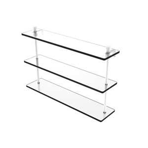 Foxtrot Matte White 22-Inch Triple Tiered Glass Shelf