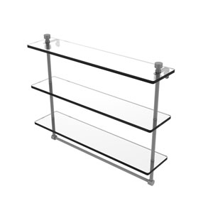 Foxtrot Matte Gray 22-Inch Triple Tiered Glass Shelf with Integrated Towel Bar