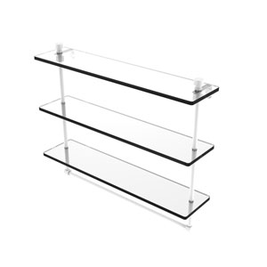 Foxtrot Matte White 22-Inch Triple Tiered Glass Shelf with Integrated Towel Bar