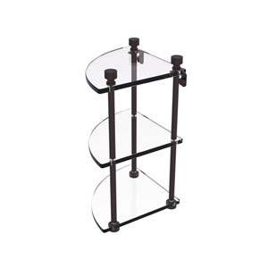 Foxtrot Antique Bronze Eight-Inch Two-Tier Corner Glass Shelf
