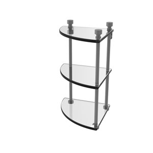 Foxtrot Matte Gray Eight-Inch Two-Tier Corner Glass Shelf