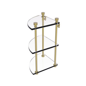 Foxtrot Satin Brass Eight-Inch Two-Tier Corner Glass Shelf