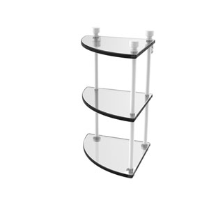 Foxtrot Matte White Eight-Inch Two-Tier Corner Glass Shelf