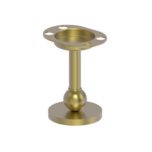 Satin Brass Four-Inch Vanity Top Toothbrush and Tumbler Holder