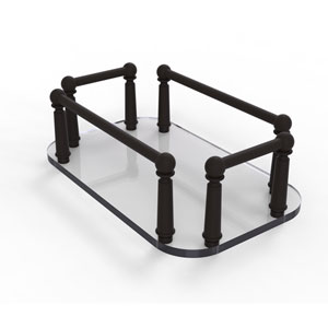 Oil Rubbed Bronze Six-Inch Vanity Top Glass Guest Towel Tray