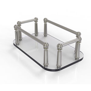 Satin Nickel Six-Inch Vanity Top Glass Guest Towel Tray