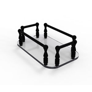 Matte Black Six-Inch Vanity Top Glass Guest Towel Tray
