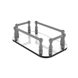 Matte Gray Six-Inch Vanity Top Glass Guest Towel Tray