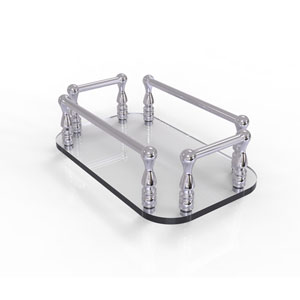 Polished Chrome Six-Inch Vanity Top Glass Guest Towel Tray