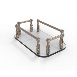 Antique Pewter Six-Inch Vanity Top Glass Guest Towel Tray