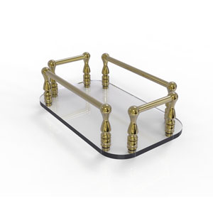 Unlacquered Brass Six-Inch Vanity Top Glass Guest Towel Tray