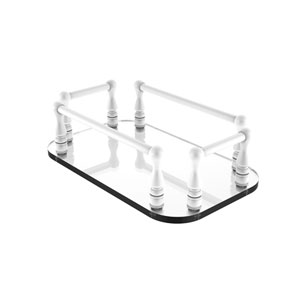 Matte White Six-Inch Vanity Top Glass Guest Towel Tray