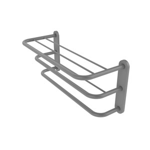 Matte Gray Eight-Inch Three-Tier Hotel Style Towel Shelf with Drying Rack