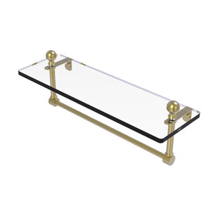 Mambo Satin Brass 16-Inch Glass Vanity Shelf with Integrated Towel Bar