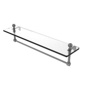 Mambo Matte Gray 22-Inch Glass Vanity Shelf with Integrated Towel Bar