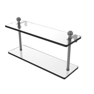 Mambo Matte Gray 16-Inch Two Tiered Glass Shelf