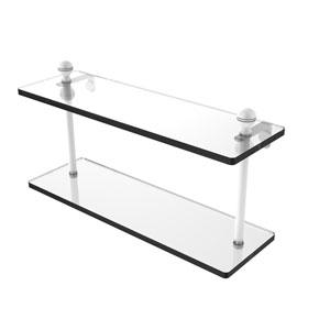 Mambo Matte White 16-Inch Two Tiered Glass Shelf