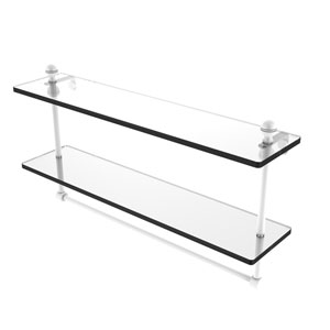 Mambo Matte White 22-Inch Two Tiered Glass Shelf with Integrated Towel Bar