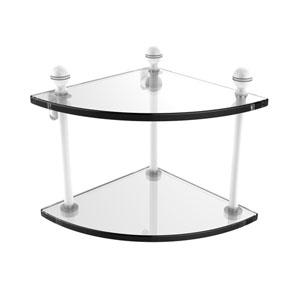Mambo Matte White Eight-Inch Two-Tier Corner Glass Shelf
