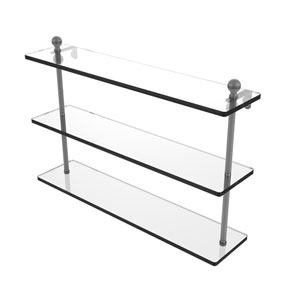 Mambo Matte Gray 22-Inch Triple Tiered Glass Shelf