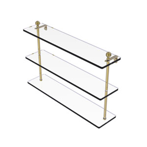 Mambo Unlacquered Brass 22-Inch Triple Tiered Glass Shelf