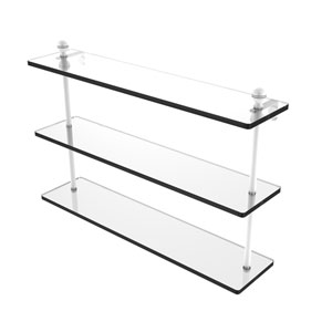 Mambo Matte White 22-Inch Triple Tiered Glass Shelf
