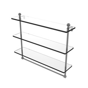 Mambo Matte Gray 22-Inch Triple Tiered Glass Shelf with Integrated Towel Bar