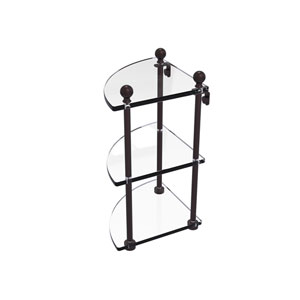 Mambo Antique Bronze Eight-Inch Three-Tier Corner Glass Shelf