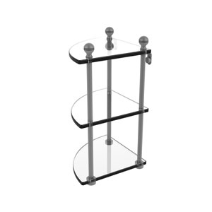Mambo Matte Gray Eight-Inch Three-Tier Corner Glass Shelf