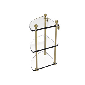 Mambo Unlacquered Brass Eight-Inch Three-Tier Corner Glass Shelf