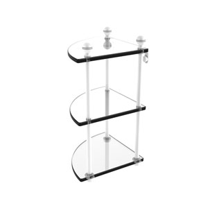 Mambo Matte White Eight-Inch Three-Tier Corner Glass Shelf