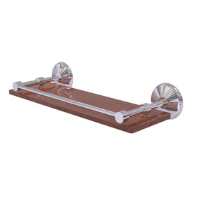 Monte Carlo Polished Chrome 16-Inch Solid IPE Ironwood Shelf with Gallery Rail