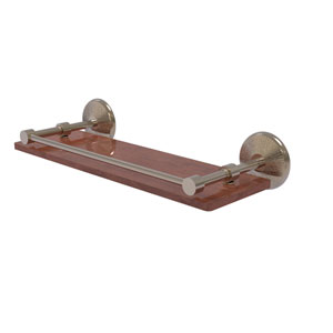 Monte Carlo Antique Pewter 16-Inch Solid IPE Ironwood Shelf with Gallery Rail