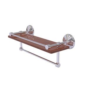 Monte Carlo Polished Chrome 16-Inch IPE Ironwood Shelf with Gallery Rail and Towel Bar