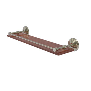 Monte Carlo Polished Nickel 22-Inch Solid IPE Ironwood Shelf with Gallery Rail