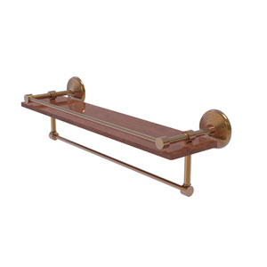 Monte Carlo Brushed Bronze 22-Inch IPE Ironwood Shelf with Gallery Rail and Towel Bar