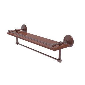 Monte Carlo Antique Copper 22-Inch IPE Ironwood Shelf with Gallery Rail and Towel Bar