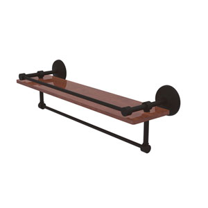 Monte Carlo Oil Rubbed Bronze 22-Inch IPE Ironwood Shelf with Gallery Rail and Towel Bar