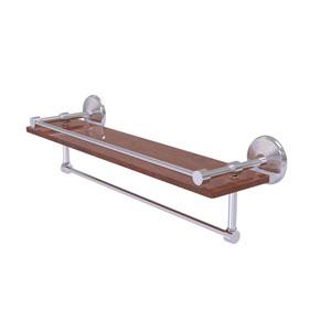 Monte Carlo Satin Chrome 22-Inch IPE Ironwood Shelf with Gallery Rail and Towel Bar