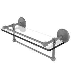 Monte Carlo Matte Gray 16-Inch Glass Shelf with Towel Bar