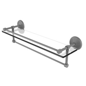 Monte Carlo Matte Gray 22-Inch Glass Shelf with Towel Bar