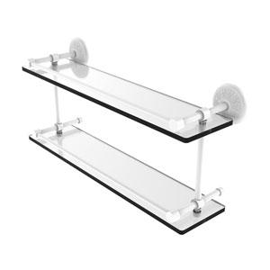 Monte Carlo Matte White 22-Inch Double Glass Shelf with Gallery Rail