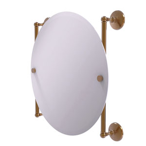 Monte Carlo Brushed Bronze 22-Inch Round Frameless Rail Mounted Mirror